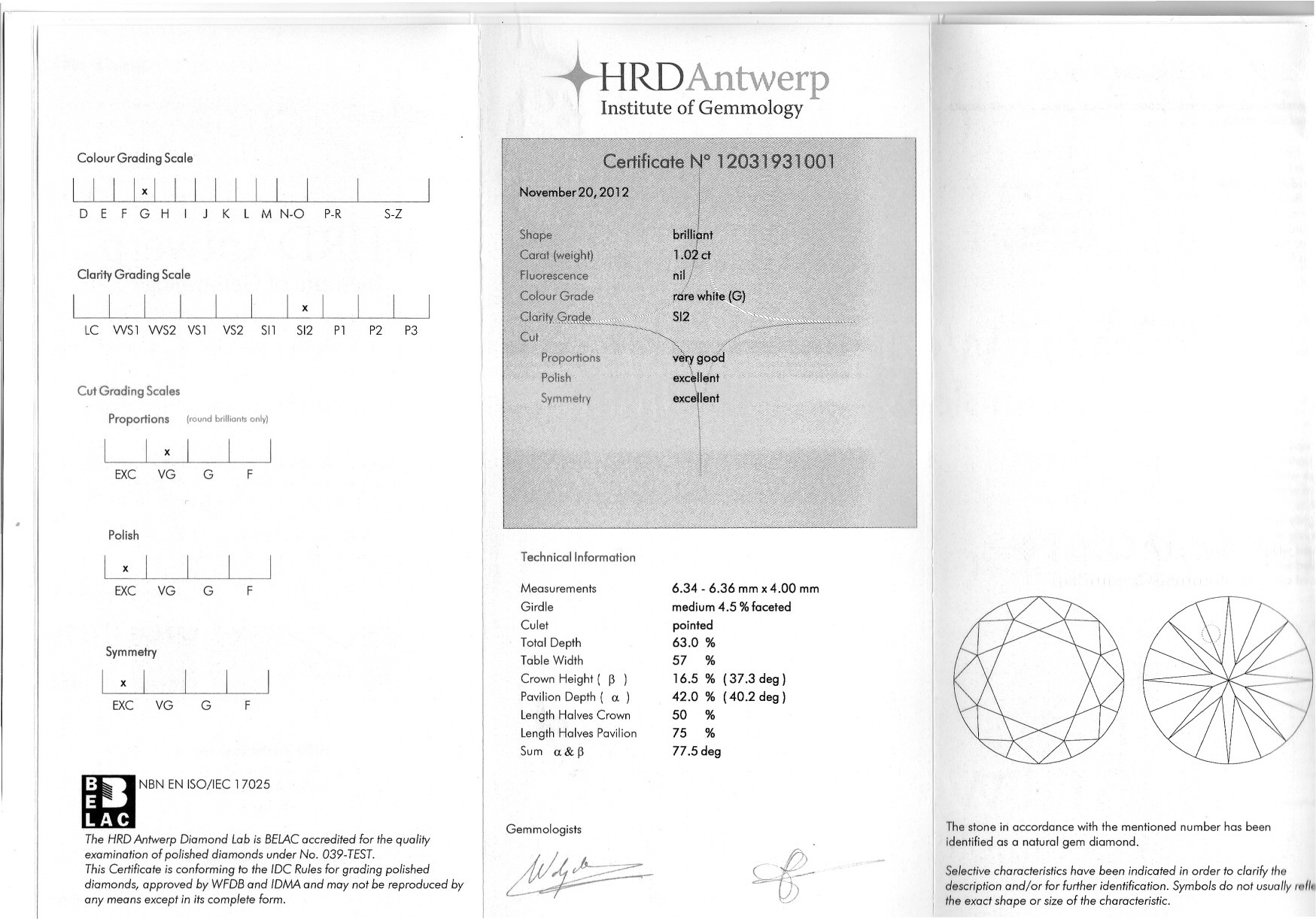 Round brilliant diamond 1 02 carat hrd g si2 ref id w926 bbs i view certificate nvjuhfo Gallery