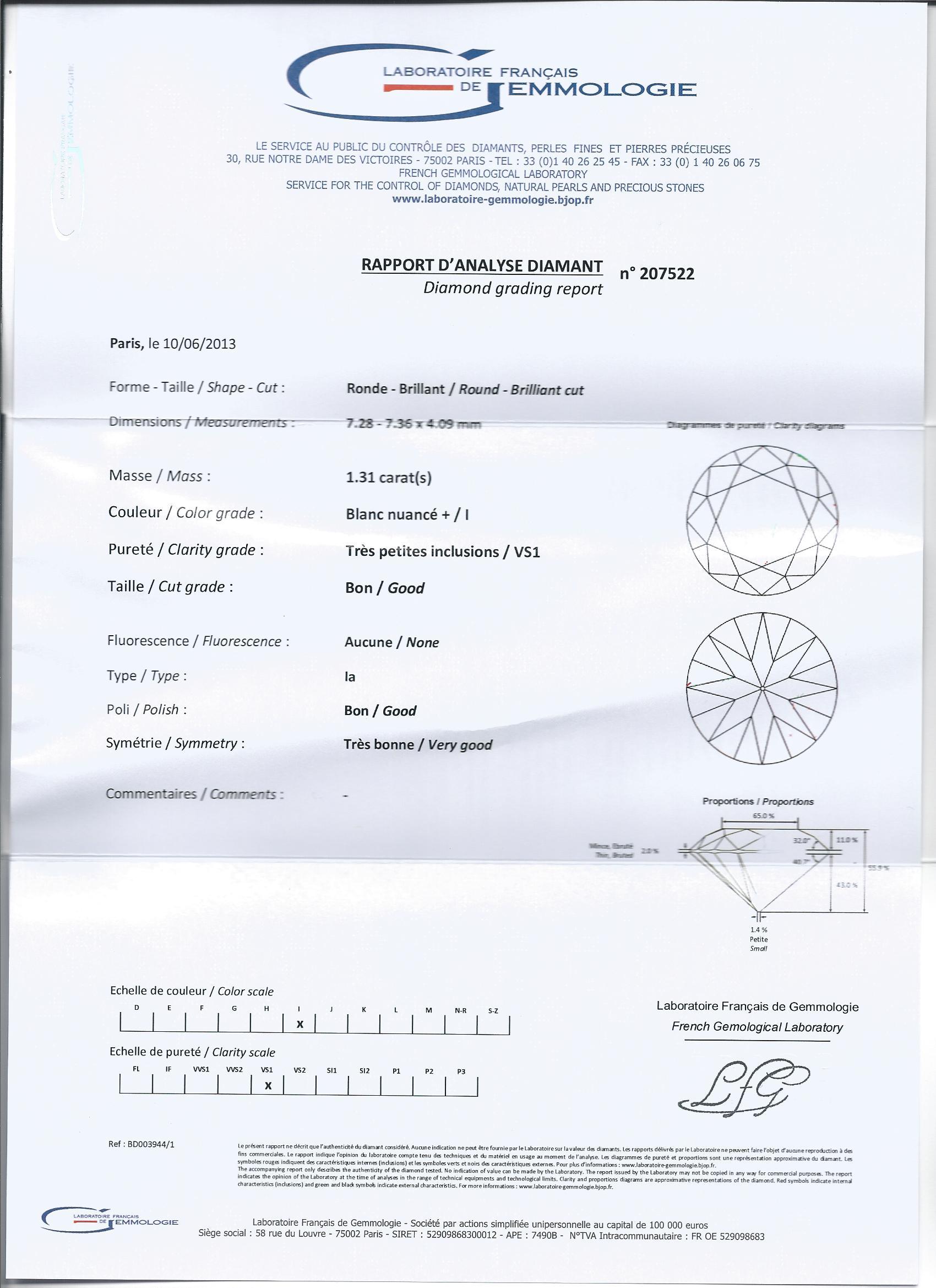 diamant brillant rond 1 31 carat lfg i vs1 ref ifb01 i diamants vente diamant brillant rond i. Black Bedroom Furniture Sets. Home Design Ideas