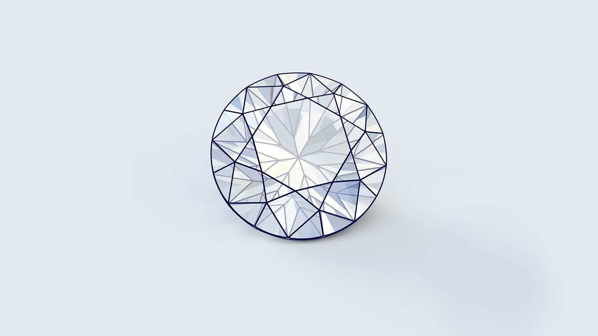 facet cut modern round brilliant diamond