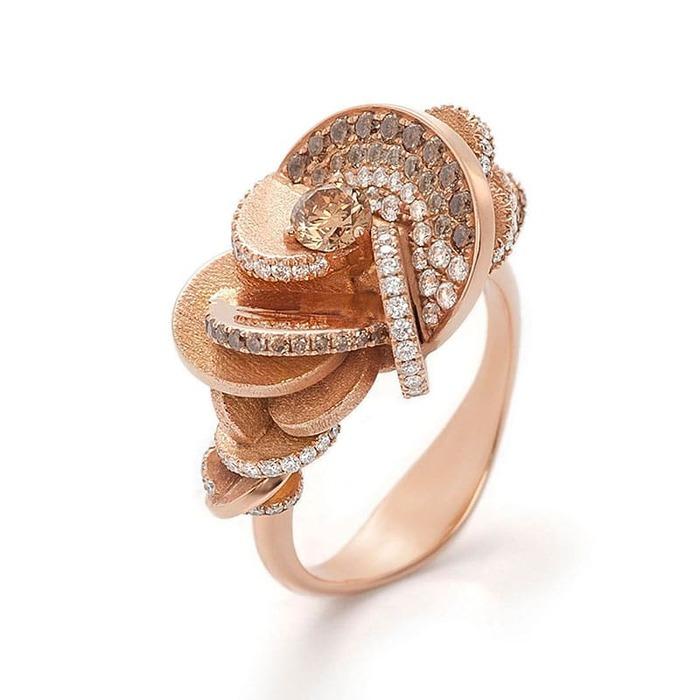 Bague  Créateurs Diamant or Rose des Sables