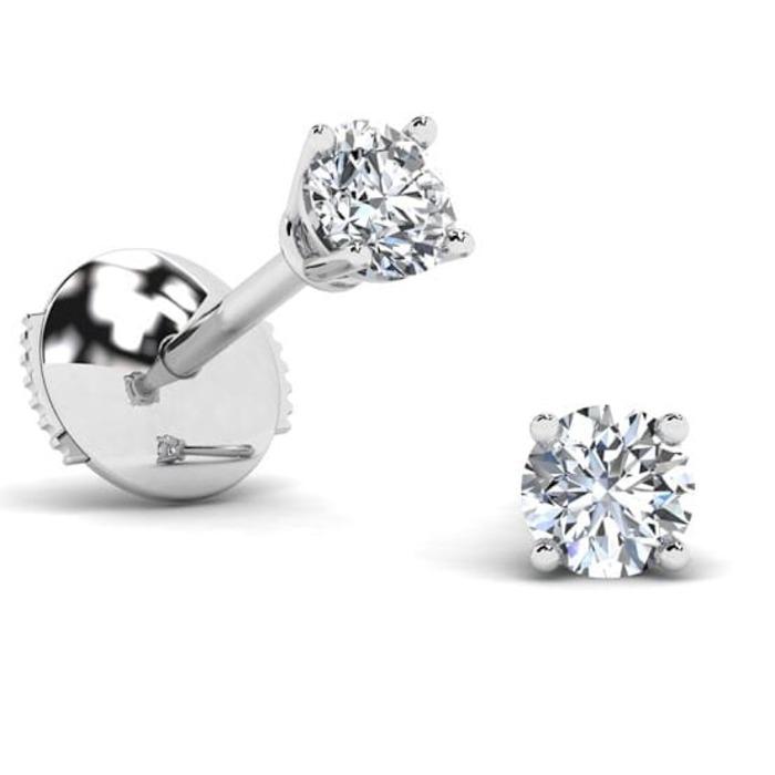 Boucles d'Oreilles  Classique  Diamant or 4 GRIFFES PREMIUM